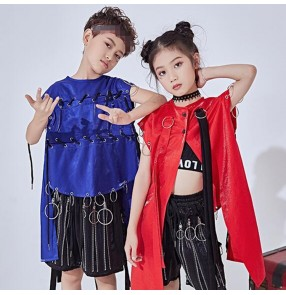 hiphop street modern dance outfits for girls boys royal blue singers jazz rap break dance school competition stage performance gogo dancers tops and shorts